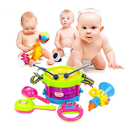 Kids 5 PCS Musical Instruments & Percussion Toy, Roll Drum Rhythm Band Set For Baby, Tactile Visual Sense and Musical Perception For Early Learning Education, Drum & Sticks, Trumpet, Cabasa, Handbell