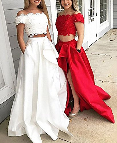 Shoulder Dress Two Promlink Evening Low Red High Prom Off Lace Beaded Piece Gown qCCfawZ