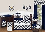 Sweet Jojo Designs 9-Piece Navy Blue and White Chevron ZigZag Unisex Baby Bedding Zig Zag Boy or Girl Crib Set Collection