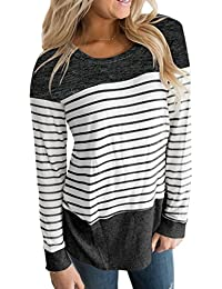 Womens Long Sleeve Round Neck T Shirts Color Block...