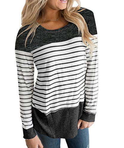 Vemvan Womens Long Sleeve Round Neck T Shirts Color Block Striped Casual Blouses Tops Black