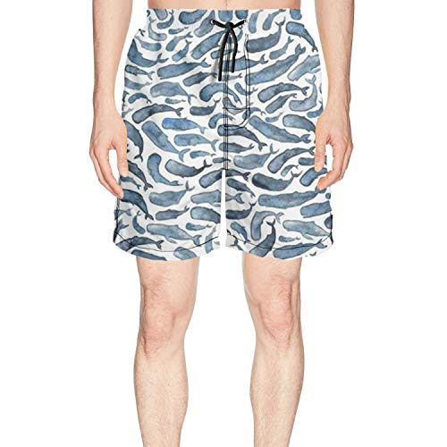 XULANG Mens for The Love of Whale Swim Trunks Jogging Skate Knee Length Boardshorts by XULANG