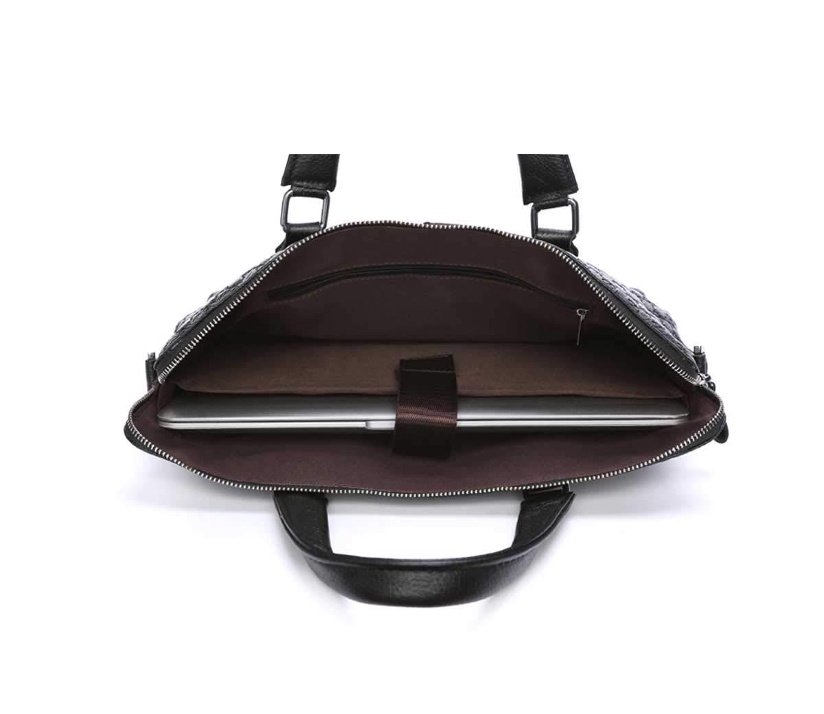 TUBACKPACK Crocodile Genuine Leather Formal Shoulder Laptop Bag Messenger Briefcase for Men Black