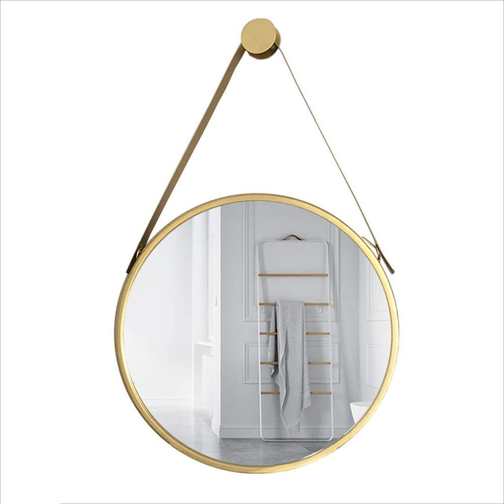 Mirror Bathroom, Wall-Mounted Round with Wrought Iron Frame, Dressing