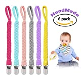 Handmade Braided Pacifier Clip by Ba'corne Pack of 6, Universal Flexible Holder Leash for Soothie Pacifiers and Baby Teething Toy,Pacifier Clips ,Teething Ring Holders,Gift Set for Boys and Girls