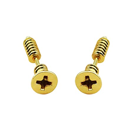 cd9cefd6d Pair of Screw Earrings Stainless Steel Punk Hip-hop Rock Screw Spike Rivet  Nail Unisex Piercing Ear Studs for Men Women (Gold): Amazon.in: Toys & Games