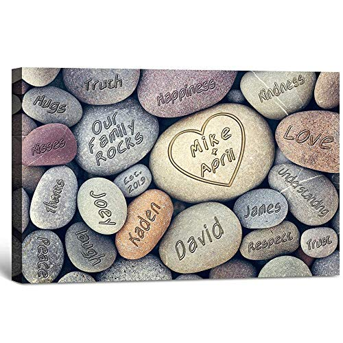 LOVEGIFTS DESIGNS Our Family Rocks -Personalized Artwork with Families Names, Wedding anniversary gifts, Housewarming Gifts 18x12
