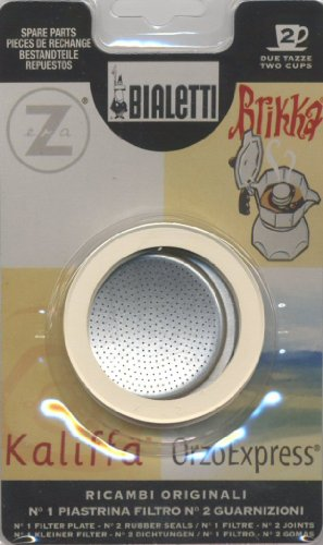 Bialetti: Replacement for Orzoexpress / Brikka 2 Cups (1 Filter Plate + 2 Rubber Seals) / Compatible with Brikka 2-cups [ Italian Import ]