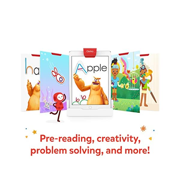 Osmo 901-00015 Little Genius Starter Kit 4 Giochi Apprendimento Hands-On età prescolare Risolvere Problemi Base iPad Creativity Incluso 3 spesavip
