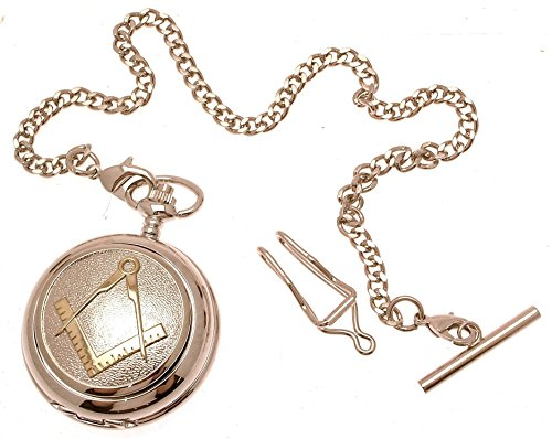 Engraving included - Pocket watch - Solid pewter fronted quartz pocket watch - Two tone Masonic design 38