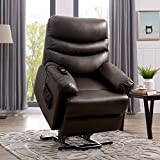 Cheap Domesis Wall Hugger Power Recline and Lift Chair in Coffee Brown Renu Leather