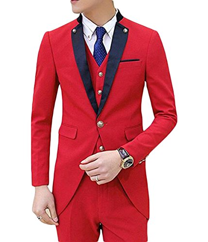 BOwith Mens Slim Fit Tail Tuxedo Suit Wedding Men Tuxedo Jacket+Pant+Vest Red M by BOwith