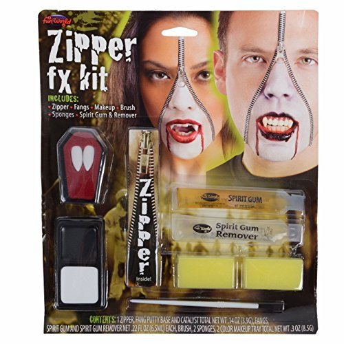 Deluxe Zipper FX Kit Makeup for Makeup Face Body Paint Fancy Dress by Wicked Wicked