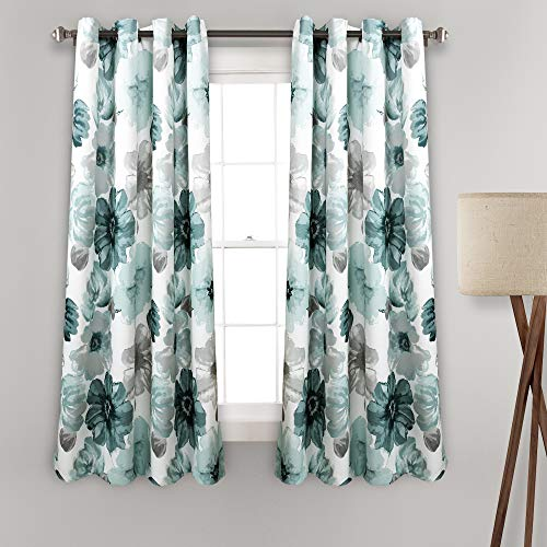 """Lush Decor Leah Floral Room Darkening Window Panel Curtain Set for Living, Dining, Bedroom (Pair), 63"""" x 52"""" Blue, L"""