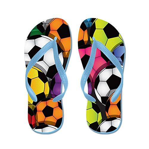 Cafepress Färg Fotbollar - Flip Flops, Roliga Rem Sandaler, Strand Sandaler Caribbean Blue