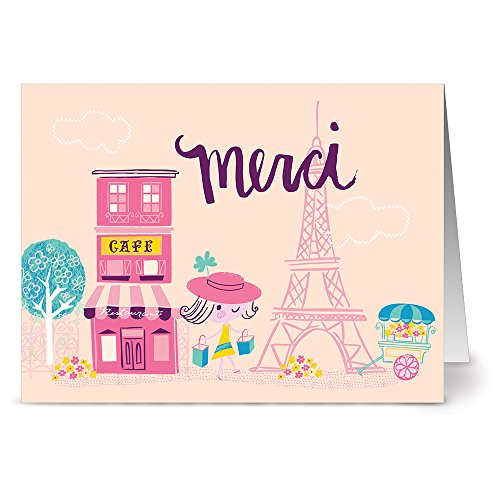 Poodle Note Card (Merci Cafe - 36 Note Cards - Blank Cards - Hot Pink Envelopes Included)