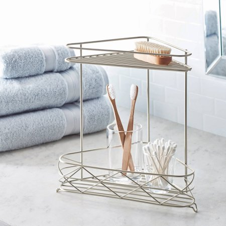 Free Standing Bathroom Corner Storage Shelves, 2-Tier, Satin from Better Homes & Gardens