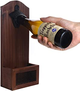 Yagote Bottle Opener with Cap Collector, Vintage Wooden Wall Mounted Beer Opener with Cap Catcher, Perfect Gift for Father, Friends, or Beer Lovers
