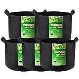 VIVOSUN 5-Pack 3 Gallon Plant Grow Bags, Premium