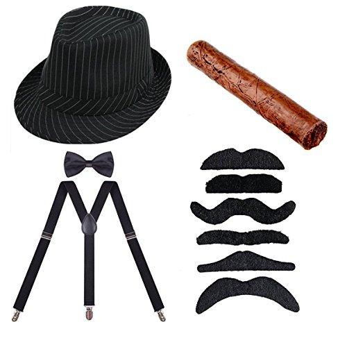 ECOSCO 1920s Mens Costume Accessories Gangster Manhattan Fedora Hat Suspenders Bowtie Toy Cigar Fake Mustache (2) -