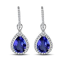 White Gold Diamond Tanzanite Earrings
