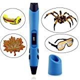 3D Printing Pen V3 - 3D Pen for Drawing, Model Printing & Art Design - Art Pen / Crafting Pen with OLED Screen - 3D Craft Pen for Hobbyists, Crafters & Artists Blue Normal