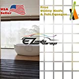 Free Tool Kit EZAUTOWRAP Square Checker Frosted Glass Peel And Stick Window Film Home Bedroom Bathroom Privacy Waterproof Sticker Decal - 36''X540'' (3FT X 45FT)