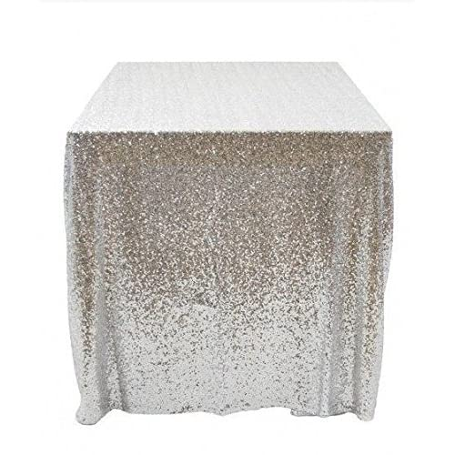 50x50 Square Silver Sequin Tablecloth Select Your Color & Size Can