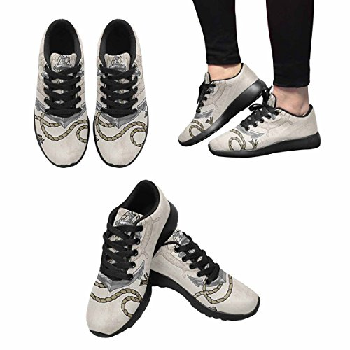 Interestprint Mujeres Jogging Running Sneaker Ligero Go Easy Walking Comodidad Deportes Zapatillas Old Anchor And Helm With Rope Multi 1