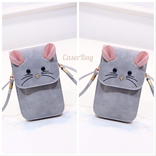 [CaserBay] Universal Multipurpose Cute 3D Mouse Pattern Synthetic Leather Cross-body Wallet Cell Phone Bag Mini Pouch With Shoulder Strap (Gray) ()