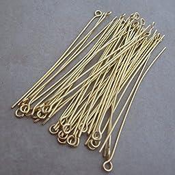 200 Gold Plated Eyepins 2 Inch 21 Gauge