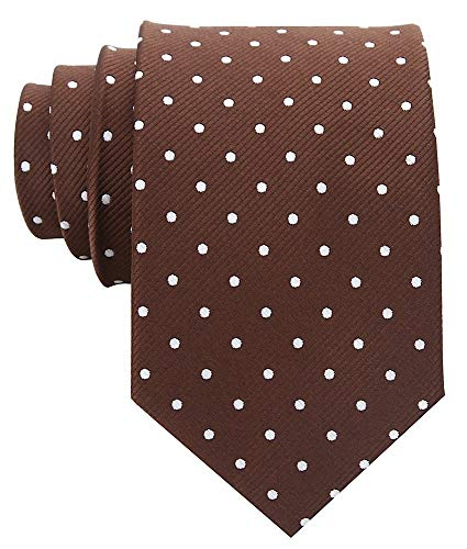 Polka Dot Ties for Men - Woven Necktie - Brown w/White ()