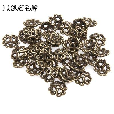 Brass Bead Caps - Laliva Accessories - 100pcs 8mm Lucky Clover Shape Flower Metal End Caps for Jewelry Making Bulk Bronze Brass Bead Caps Silver for DIY Jewelry Making - (Color: Antique Bronze)