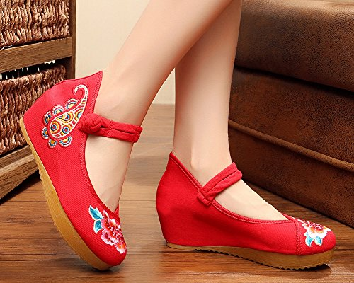 Beads AvaCostume Shoes Red Mary Women Platform Embroidery Oxford Jane rEw1qE0v