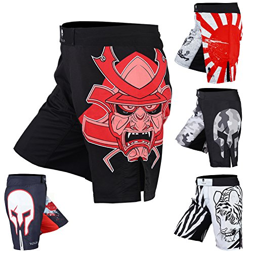 Men's Mixed Martial Art Shorts by VERUS (Black/Red, Medium)