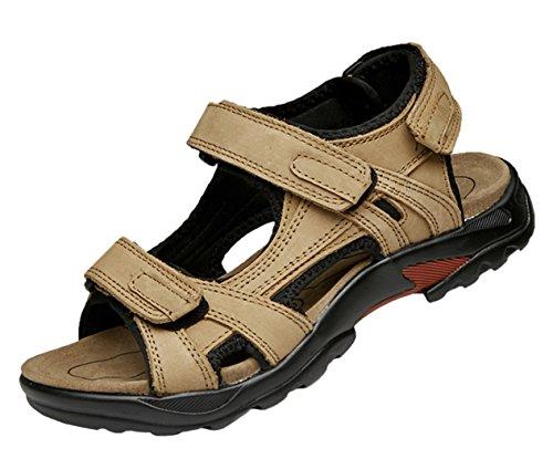 DADAWEN Men's Leather Strap Gladiator Sandal Khaki
