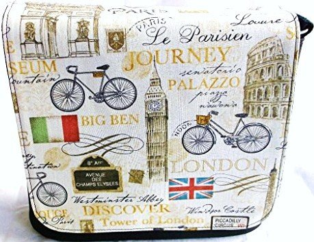 New Paris, London, Rome in Beige Messenger Bag By Gifts and Beads by Gifts and Beads