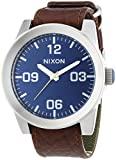 Nixon A2431656 Men's Corporal Blue Dial Brown Leather & Canvas Strap Watch