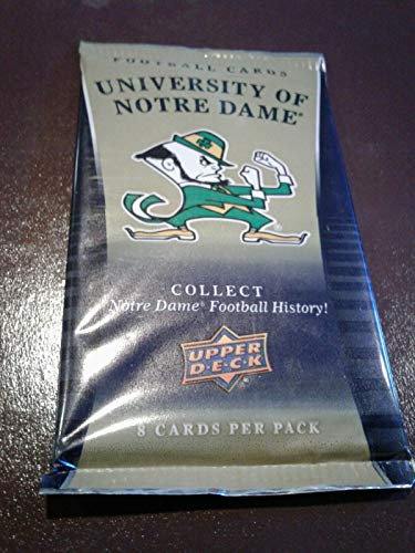 (24 pack lot 2013 Upper Deck Notre Dame Factory Sealed Football Packs from Blaster Box - Look for Gold Inserts and Randomly Inserted Autographs of Joe Montana, Lou Holtz, Joe Thiesman + more )