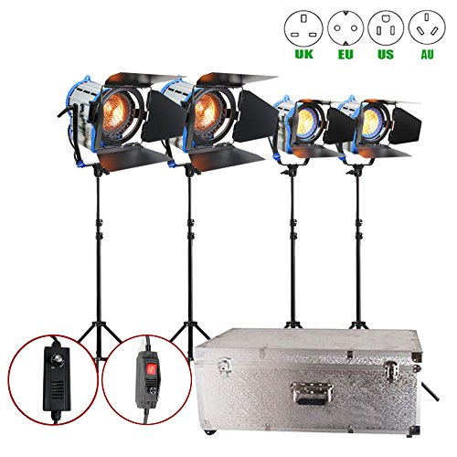 Alumotech Dimmer Built-in Fresnel Tungsten 650WX2+1000WX2+ Air Cushioned Stand +Aluminium case 3300W Spotlight Halogen Lamp Studio Video Light Kit For Camera Photographic Lighting Compatible Bulb