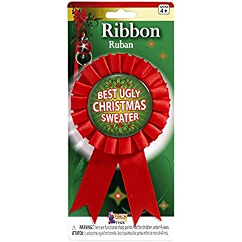 forum novelties womens award ribbon for ugliest christmas sweater multi one size