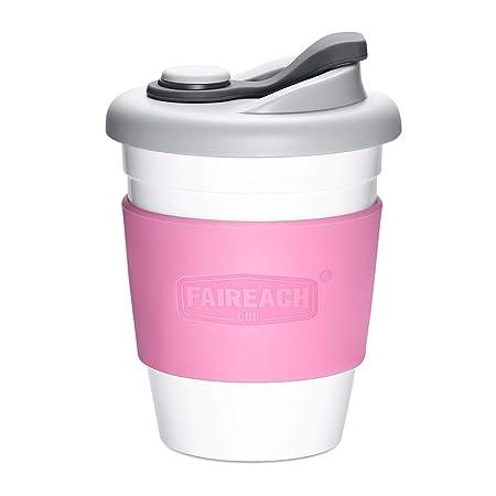 Taza de Café para llevar con Tapa, Mug Café Reutilizable con Manga Antideslizante, Coffee To Go Ecológica de Viaje con sin BPA, Vasos de Café apto ...