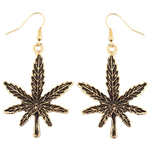 Marijuana Pot Leaf Dangle Earrings