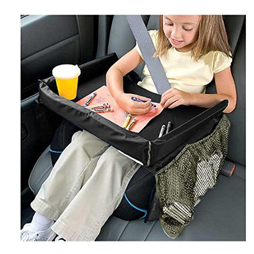 Baellar Kids Car Seat Snack and Play Travel Tray, Black