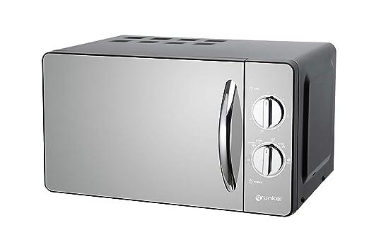 Grunkel MW-20ESP - Microondas de diseño en espejo color negro de 20 L y 700W. 6 niveles de potencia, función descongelación y temporizador hasta 30 ...