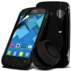 C3 gel de la onda S Line Alcatel One Touch caso de la piel cubierta + Mini recargable altavoz de la cápsula + Mini Retractable Stylus Pen + LCD Protector de pantalla (Negro) Por Spyrox