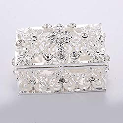 Home Decor 925 Silver With Rhinestone Jewelry Box