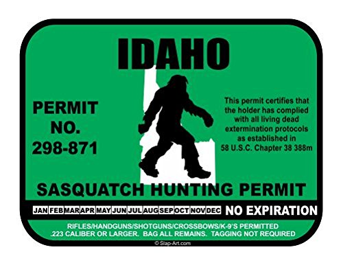 Idaho Sasquatch Hunting Permit License Bigfoot Vinyl Sticker Decal