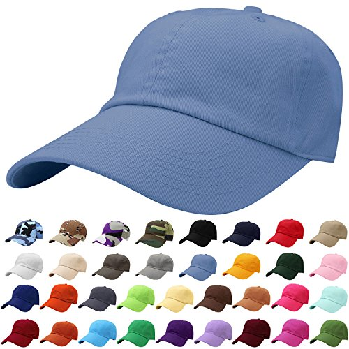 Falari Baseball Cap Hat 100% Cotton Adjustable Size Sky Blue 1809 Blue Sky Cotton Cap