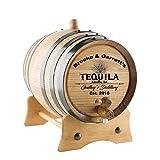 Personalized Tequila Oak Barrel | Custom Engraved American White Oak Aging Barrel - Age your own Tequila, Whiskey, Rum, Wine, Beer, Vinegar. (20 Liters)